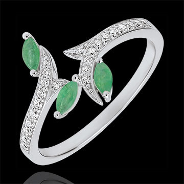 gift woman Ring Mysterious Woods - white gold, diamonds and emeralds boats - 18 carats