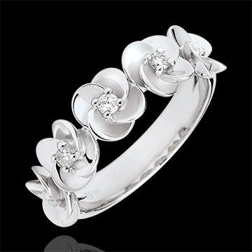 Geschenke Frauen Ring Blüte - Rosenkränzchen - Weißgold und Diamanten - 9 Karat