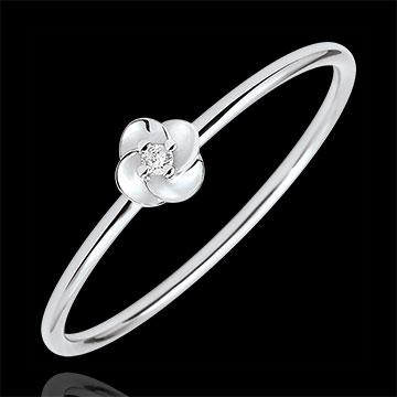 buy on line Ring Eclosion - First Rose - small model - white gold and diamond - 18 carats