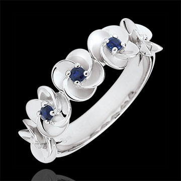 women Ring Eclosion - Roses Crown - white gold and sapphires - 9 carats