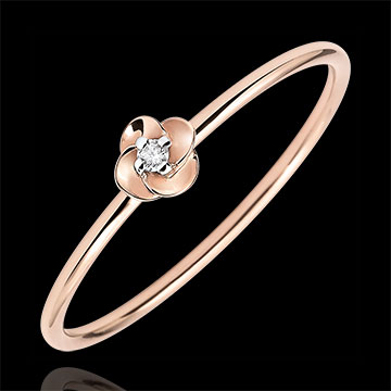 gold jewelry Ring Eclosion - First Rose - small model - pink gold and diamond - 18 carats