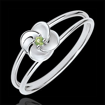 gifts Ring Eclosion - First Rose - white gold and peridot - 9 carats