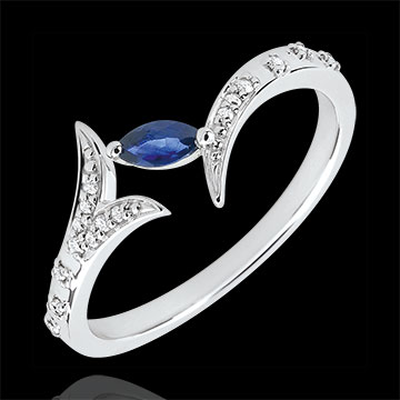 weddings Ring Mysterious Wood - small model - white gold and marquise sapphire - 9 carats