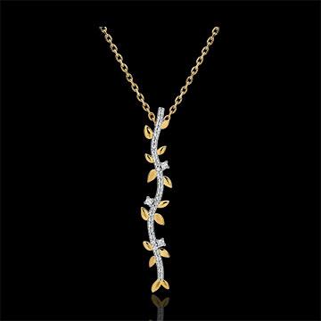 Kauf Halskette Stab Verzauberter Garten - Königliches Blattwerk - Gelbgold und Diamanten - 9 Karat
