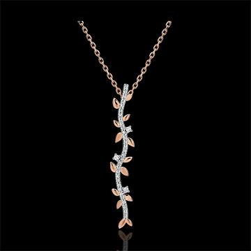 Kauf Halskette Stab Verzauberter Garten - Königliches Blattwerk - Roségold und Diamanten - 9 Karat