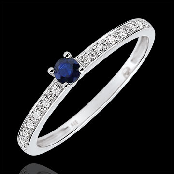 on line sell Boreal Solitaire Engagement Ring - 0.12 carat sapphire and diamonds - white gold 18 carats