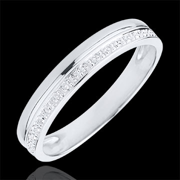 on line sell Elegance Wedding Ring - White gold - 9 carats
