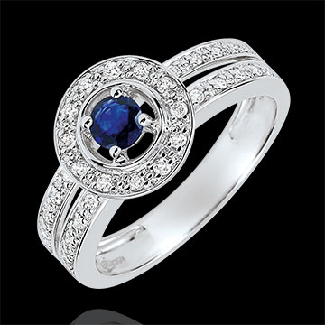 buy on line Destiny Engagement Ring - Lady - 0.2 carat sapphire and diamonds - white gold 18 carats