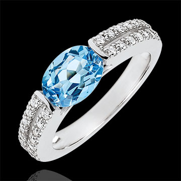 gift women Victory Engagement Ring - 1.5 carat topaz and diamonds - white gold 18 carats