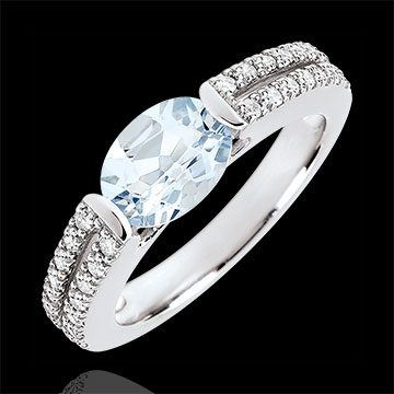 gift woman Victory Engagement Ring - 1.2 carat aquamarine and diamonds - white gold 18 carats