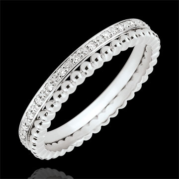 jewelry Salty Flower Ring - double row - diamonds - 9 carat white gold