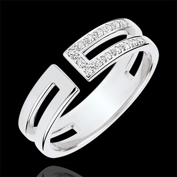 gifts woman Gloria Ring - 15 diamonds - white gold 9 carats