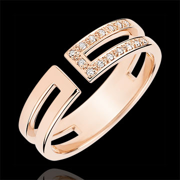 present Gloria Ring - 15 diamonds - pink gold 9 carats