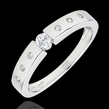 gift women Solitaire Ring Désirée - White gold