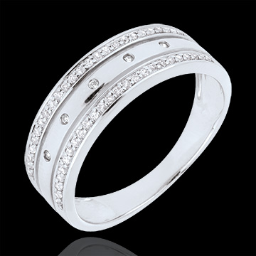jewelry Ring Enchantment - Crown of Stars - large model - white gold - 9 carats