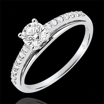 gifts woman Engagment Ring - Avalon - 0.4 carat diamond - white gold 18 carats