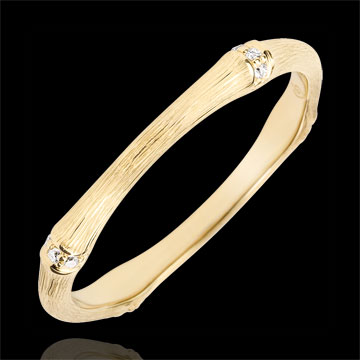 gifts woman Jungle Sacrée wedding ring - Multi diamond 2 mm - brushed yellow gold 9 carats