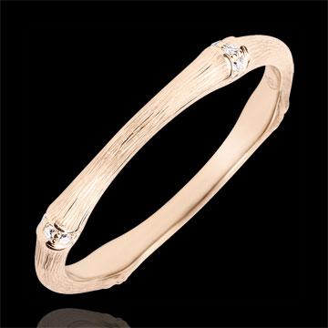 buy on line Jungle Sacrée wedding ring - Multi diamond 2 mm - brushed pink gold 9 carats