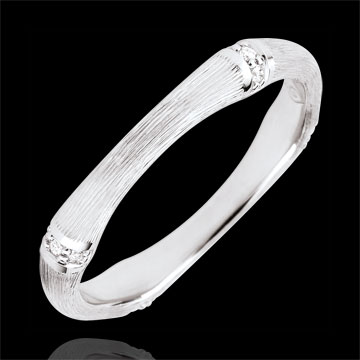 sell on line Jungle Sacrée wedding ring - Multi diamond 3 mm - brushed yellow gold 9 carats