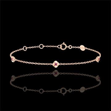 Geschenk Frau Armband Blüte - Rosenkränzchen - Rubin - Roségold - 9 Karat