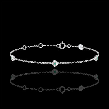 wedding Eclosion Bracelet - Roses Crown - emeralds - 9 carat white gold