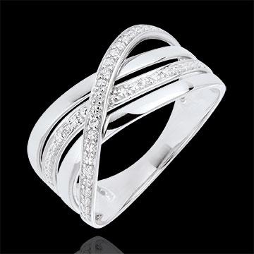 Geschenk Frau Ring Saturn Quadri - Weißgold - Diamanten - 9 Karat