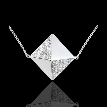 jewelry Necklace Genesis - Long necklace rough diamond - white gold