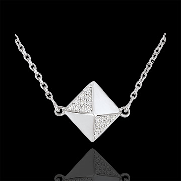 gift woman Necklace Genesis - Rough diamond white gold - 9 carat