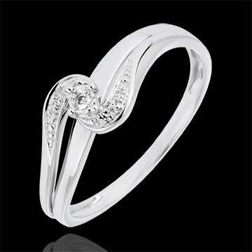 sell Solitaire Ring Set Shoulders Precious Nest - Sophia - white gold - 0.013 carat diamond - 9 carats