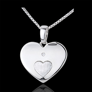 gifts woman Pendant Hearts Together - White gold