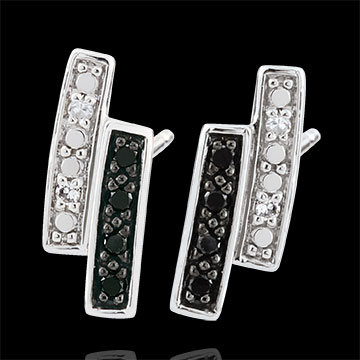 women Earrings Clair Obscure studs - white gold, black diamond