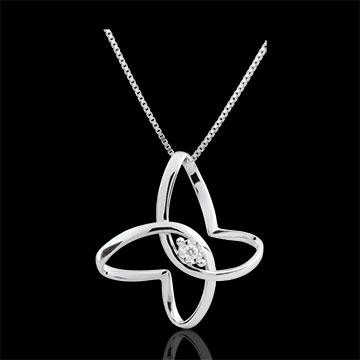 comprare on-line Collana Passeggiata Immaginaria - Fiocco di Farfalla - Oro bianco - 9 carati - Diamante