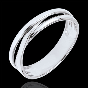 women Wedding Ring Saturn Trilogy variation - white gold - 9 carat
