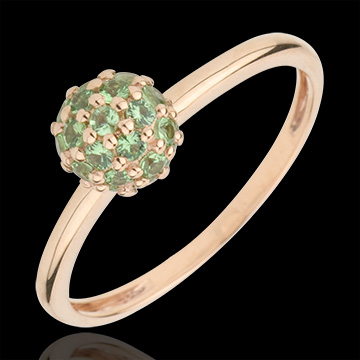gift women Ring Bird of Paradise - ball - rose gold and tsavorite