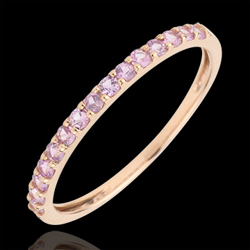 gifts Ring Bird of Paradise - one line - rose gold and pink sapphire