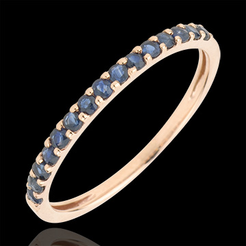 gift Ring Bird of Paradise - one line - rose gold and blue sapphire
