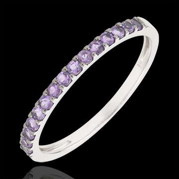 jewelry Ring Bird of Paradise - one line - white gold and amethyst