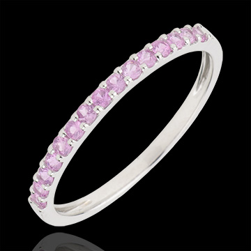 sell Ring Bird of Paradise - one line - white gold and pink sapphire