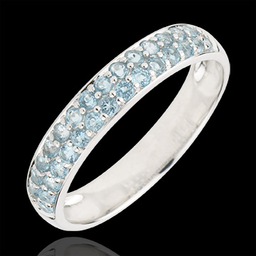 weddings Ring Bird of Paradise - two lines - white gold and blue topaz
