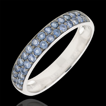 gift woman Ring Bird of Paradise - two lines - white gold and blue sapphire