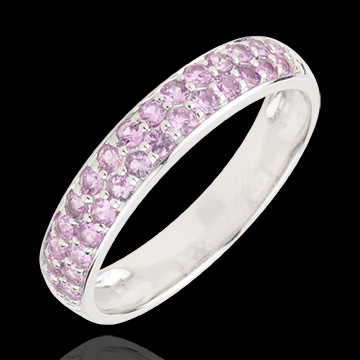 sell on line Ring Bird of Paradise - two lines - white gold and pink sapphire