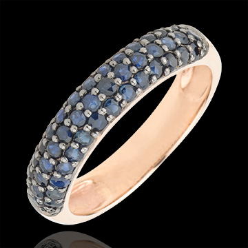 gold jewelry Ring Bird of Paradise - three lines - rose gold and blue sapphire
