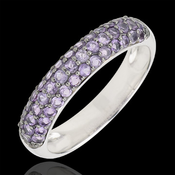 gift woman Ring Bird of Paradise - three lines - white gold and amethyst