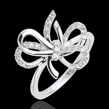 gifts woman Crazy Bow Ring - Silver and diamonds