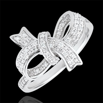 on-line buy Precious Bow Ring - Silver and diamonds