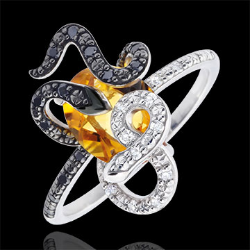 gift women Ring Imaginary Walk - Gorgonia - Silver, diamonds and fine stones