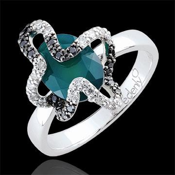 gift Ring Imaginary Walk - Medusa - Silver, diamonds and fine stones
