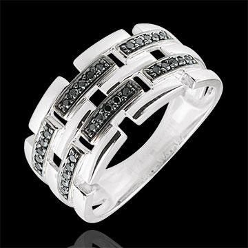 wedding Ring Clair Obscure - Secret Path - white gold, black diamond - large model 9 carat