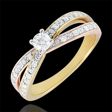 gifts Solitaire Ring Saturn Duo double diamond - three golds - 0.15 carat - 18 carat