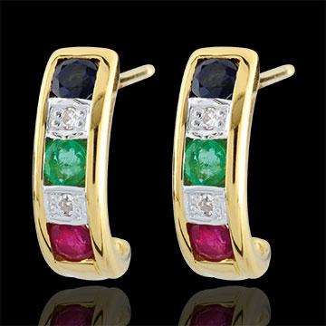 gifts women Lola emerald, sapphire, ruby and diamond, earrings